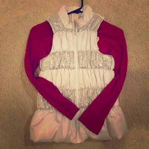 Other - White sparkly vest and long sleeve shirt set